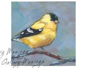 Goldfinch Painting 5x5 Inch Panel, Small Paintings for Home Decor