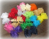 Organza Hair Bows, Girls Organza Hairbows, Lot Set of 4 Bows, Baby Double Layered Hair Bows, Toddler Girl Bows, Bows for Teens, Wedding Bows