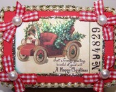 Decorated Box, Gift Box, Mixed Media, Santas Car, Christmas Ticket, Red and Green, Trinket Box, Gift for Him, Holiday Decor, Gift for Her