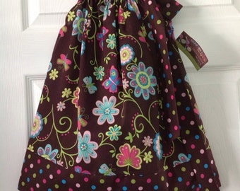 READY TO SHIP - Vibrant Floral Pillowcase Dress Size 3
