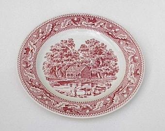 """Vintage  Pink/red  Memory Lane 10"""" Plates 1960's"""