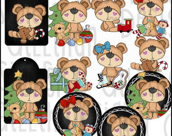 Cute Christmas Teddies Clipart Collection - Immediate Download