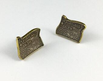 Oregon Earrings, Oregon Map Jewelry, Oregon Jewelry,Portland ,Salem, Spoon Earrings, Spoon Jewelry, Cutlery Jewelry, Spoon Studs