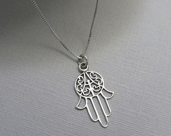 Hamsa Necklace, Sterling Silver Hamsa Hand Necklace, Sterling Silver Hamsa, Everyday Necklace, Casual Necklace, Gift for Her Girlfriend Gift