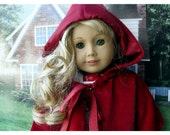 Eighteen Inch Doll Clothes Hooded Red Coat Velveteen