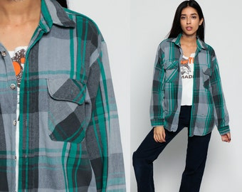 Plaid FLANNEL Shirt Button Up 90s Grunge Grey Flannel Checkered Long Sleeve 1990s Lumberjack Vintage Button Down Green Retro Small Medium