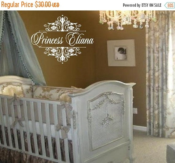 ON SALE Princess Wall Decal Personalized with Name and Damask Accents - Princess Tiara Baby Girl Nursery 22h x 30w FN0039