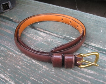 Coach Belt Narrow Vintage Dark Brown Size 32 Inches Made In New York Real Glove Tanned Cowhide Solid Brass Buckle KJD