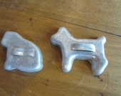 Dollhouse Kitchen. Two metal cookie cutters Dog and Cat. #231