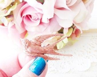 Rose Gold Sparrow Hair Clip - Swallow Hair Clip - Bird Alligator Hair Clip - Whimsy - Whimsical - Woodland Hair Clip- Bridal Hair Clip