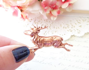 Rose Gold Reindeer Brooch - Deer Brooch - Forest Animal Pin - Woodland Accessory - Forest Friend