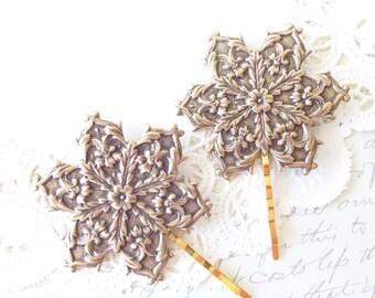 Golden Ox Brass Snowflake Hair Pins - Snowflake Bobby Pins - Winter Hair Accessories - Snow Flake - Snowflake Hair - Winter Wedding
