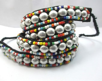 handmade ethnic Asian hill tribe embroidering glass beads metal beads  cloth belt