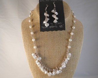 Keshi pearl necklace and earrings
