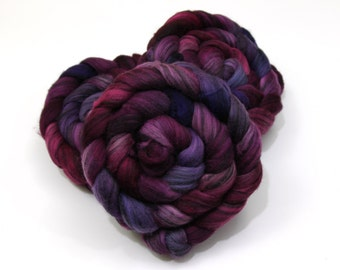 Merino Wool/ Silk (80/20) Roving (Combed Top) - Handpainted Roving for Spinning or Felting