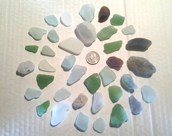 Genuine Hawaii Surf Turned Beach Glass 32 Pieces