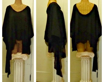 Black Top Caftan Large, XL, 1X, 2X, 3X, Gothic Sleeves Halloween Costume Plus Size