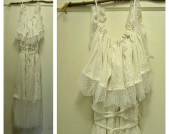 Embroidered Maxi Dress S, M, L, XL up thru 6X Lace Up Wedding Ivory Bridal Corset Gown Kantha Silk French Dotted Lace Plus