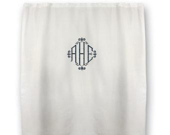 Monogrammed Shower Curtain - Twill