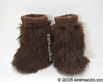 Adult Wookie Inspired Furry Fluffy Fuzzball Brown Faux Fur Slippers