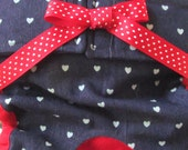 Dog Diapers Britches or Panties Soft Dark Blue Denim with Mini White Hearts and Red Ribbon and Trim