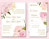 Romantic Rose Printable Wedding Invitations, DIY PDF Wedding Invitation Printable Download, Pink and Gold Floral Wedding Invites