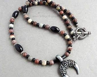 Necklace for Men, Crazy Horse Stone Black Onyx, Metal Crescent Moon Pendant, Tribal, Native American, Jewelry for Guys