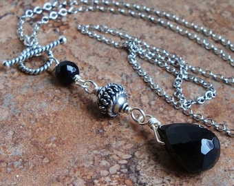 Black Onyx and Bali Sterling Silver Pendant Necklace 18 inches, Gemstone, Handmade