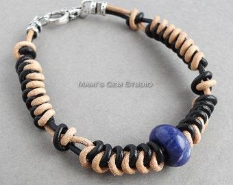 Hand-braided Leather Bracelet for Men, Women, Unisex | Blue Sodalite Stone Accent | Black & Tan Genuine Leather Cords