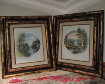 Two Oil Paintings  Set of  Frame  Landscape -Barn -Water Wheel Mill- Tree's  Field Landscape Artisan Signed Vintage Oil Painting's