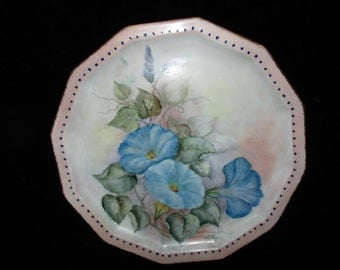 Blue Morning Glory -Plate ~ Gold Trimmed -Hand-Painted Cabinet Display Plate Dated-Signed- Germany