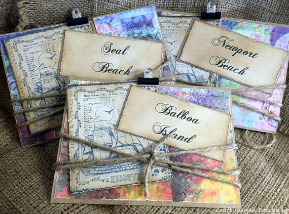 Destination Wedding Table Numbers Names-Double Sided Design-by Craftypagan Designs