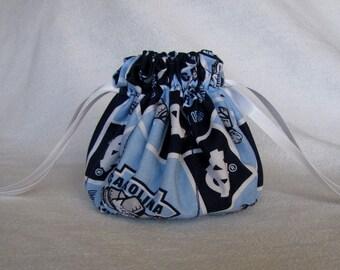 College Team Jewelry Bag - Medium Size - Fabric Travel Pouch - UNC TAR HEELS