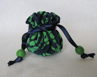 Travel Jewelry Bag - Mini Size - Fabric Jewelry Pouch - Drawstring Pouch - Jewelry Tote - WAHOO