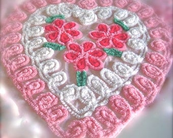 Pink Tonal Floral Heart Vintage Cotton Chenille Bedspread Fabric 21 x 22 Inches