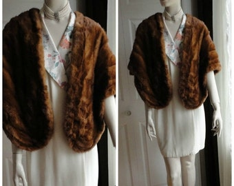 sale Vintage Medium Brown Mink Fur Stole Capelet Wrap  from 60s Unsigned