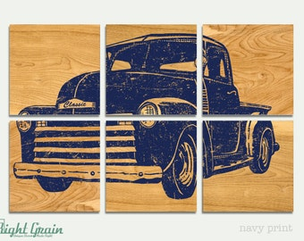 Vintage Pickup Truck Art on Dark Wood Panels - Custom Made for Husband Father Boys Room