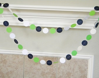 Lime Green, Navy, White Nautical Themed Sailboat Birthday Party Paper Garland, Gender Neutral Baby Shower, Lime Navy Wedding Decorations