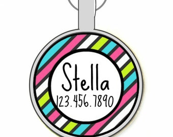 Bright Rainbow Stripes Personalized Dog ID Pet Tag Custom Pet Tag You Choose Tag Size & Colors