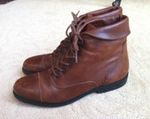 Vintage Brown Ankle Boots Womens Lace Ups Size 9 1980's