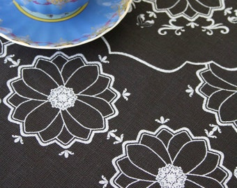 Marrakesh White on Black Linen Tea Towel