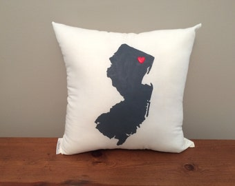 New Jersey Pillow with Customizable Heart