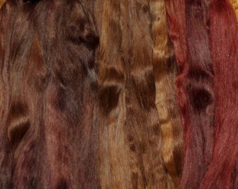 Combed Suri Alpaca Doll Hair 10-12 inches long 1.9 ounces Burgundy and Brown