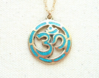 Gold om necklace spiritual jewelry yoga jewelry meditation jewelry turquoise necklace mens necklace hippie jewelry om pendant