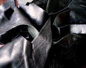Black Leather Scraps 1 POUND Premium Cowhide and Bison Mix - Leather Remnants Destash