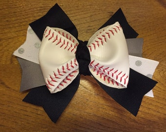 Real baseball hair bows