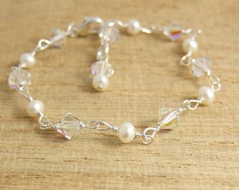 Bracelet with Swarovski Crystals, Pearls and Sterling Silver Wire CB-47