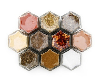 Basic Organic Spices: 10 Small Magnetic Glass Hexagon Jars (1.5 oz) for Fridge // Kitchen Storage & Organization. Wedding Gift Idea!