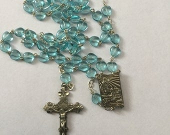 Vintage Turquoise Glass Heart Shaped Rosary Beads Rosary