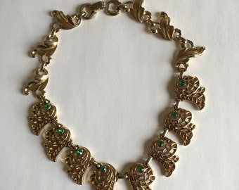 Vintage French Green Rhinestone Filigree Link Necklace